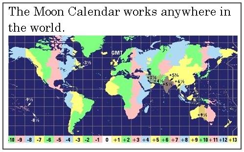Moon Calendar times apply world-wide.