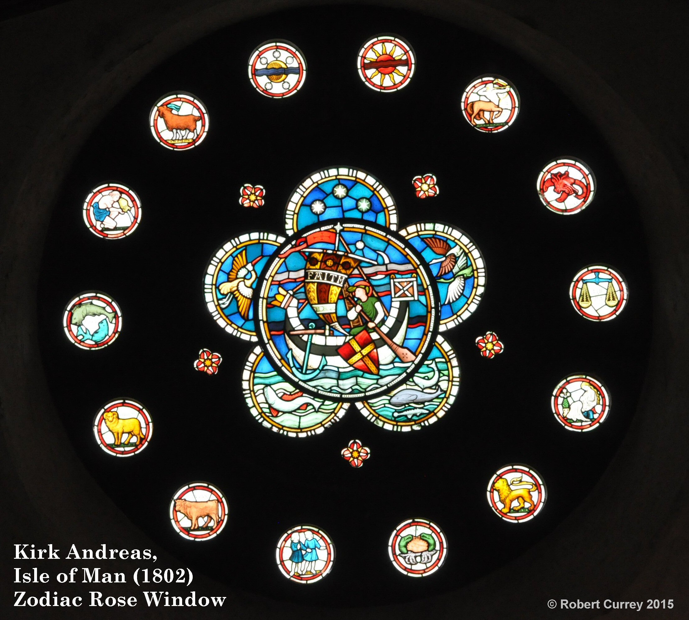 Kirk Andreas Zodiac Rose Window