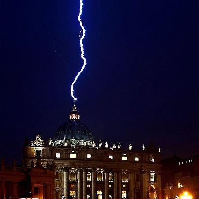Lightning strikes St Paul's Basilica on the day of Benedict's announcement of his resignation.