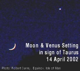 photo of Moon and Venus setting