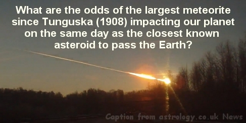 10,000 ton meteorite impacts the Earth and a massive Asteroid passes inside the Earth's geosynchronous orbital ring on 15 Feb.2013 Chelyabinsk meteor