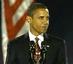 Obama during his acceptance speech. 4 November 2008