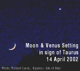 photo of Moon and Venus setting