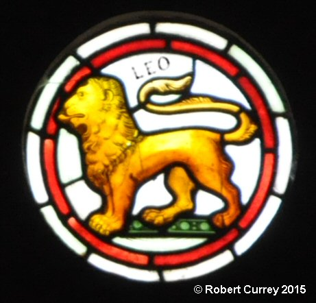 Leo detail on Zodiac Rose Window in Kirk Andreas