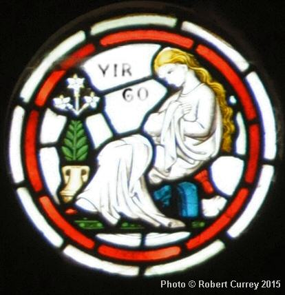 Virgo detail on Zodiac Rose Window in Kirk Andreas